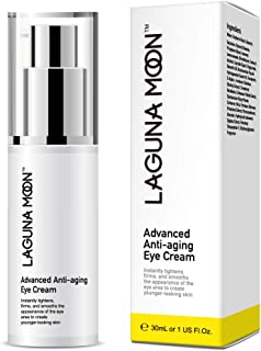 Lagunamoon Natural Eye Cream for Dark Circles and Puffiness, Wrinkles, Fine Lines, Under Eye Bags, Crow's Feet, and Sagging Eyelids, Men & Women Anti Aging Skin Care Eye Cream, 1 FL Oz