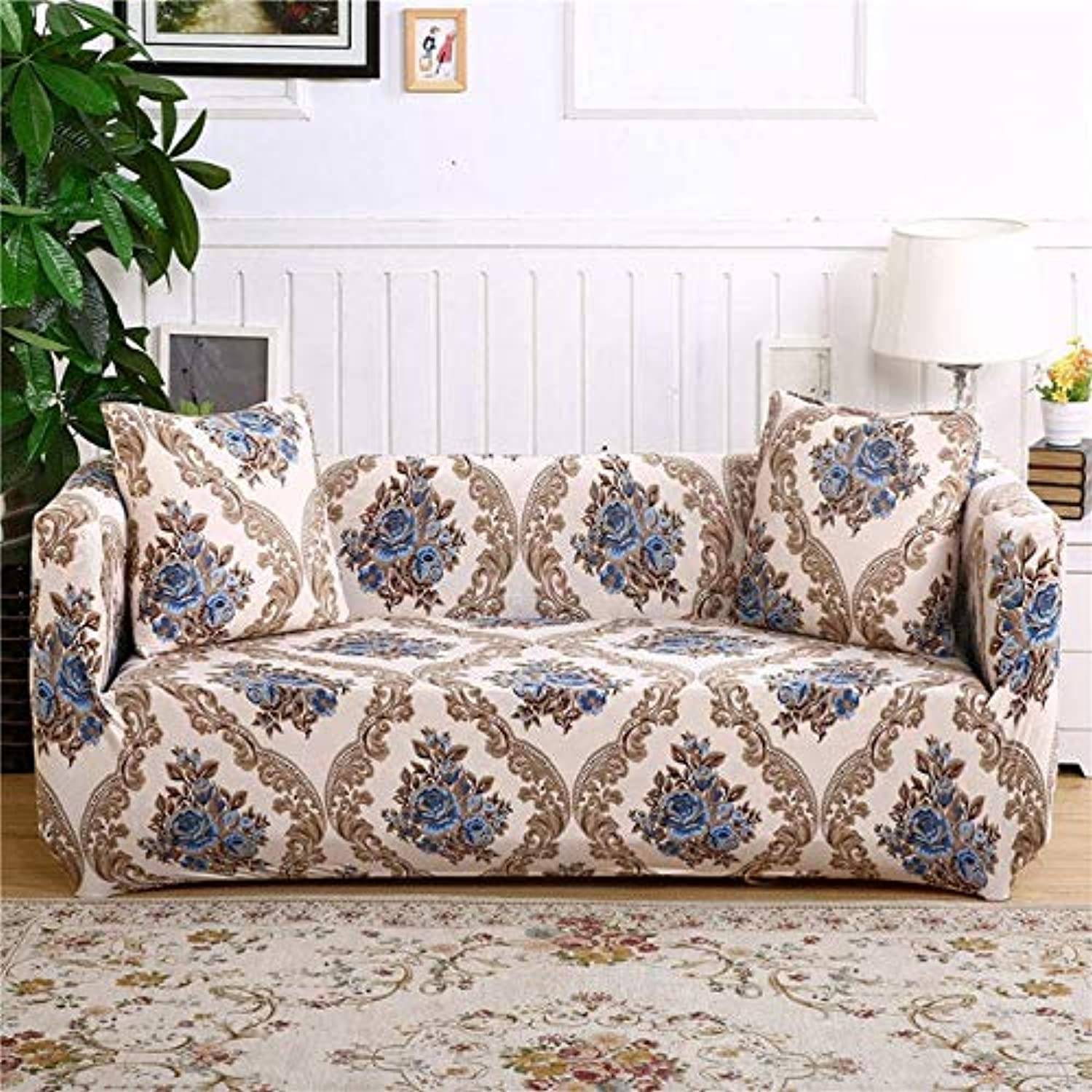 Floral Printing Stretch Elastic Sofa Cover Cotton Sofa Towel Slip-Resistant Sofa Covers for Living Room   colour21, 2-Seater 145-185cm