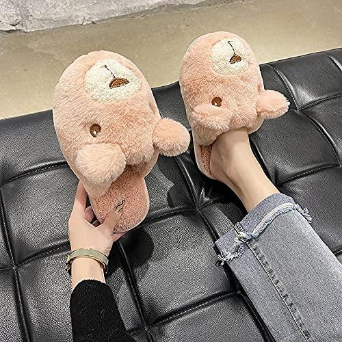 xinghui Zapatos Memory Algodón Pantuflas,Zapatillas de Felpa Interior de la casa de Dibujos Animados Zapatillas Calientes-Rosado_40-41