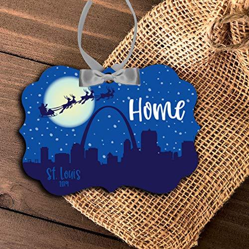Lplpol St. Louis Missouri Ornament St. Louis City Home Holiday Ornament Saint Louis Skyline Gateway Arch Christmas Ornament Mbo-066_1