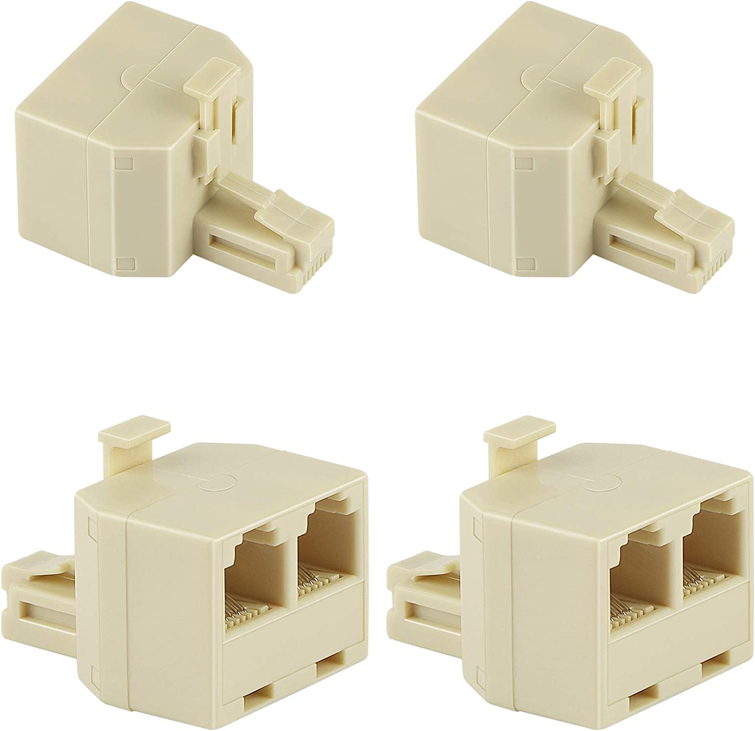 Uvital RJ11 Duplex Wall Jack Adapter Dual Phone Line Splitter Wall Jack Plug 1 to 2 Modular Converter Adapter for Office Home ADSL DSL Fax Model Cordless Phone System, Cream(4 Packs)