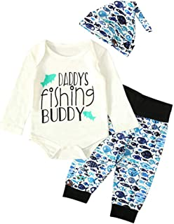 YESOT Newborn Baby Boys 3-Piece Suit Letter Print Tops Romper Fisherman Print Pants Hat Outfits