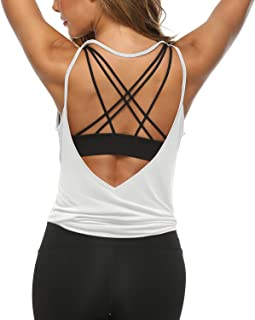 LEXISLOVE Womens Workout Shirts Sexy Open Back Activewear Workout Clothes Sports Yoga Tank Tops