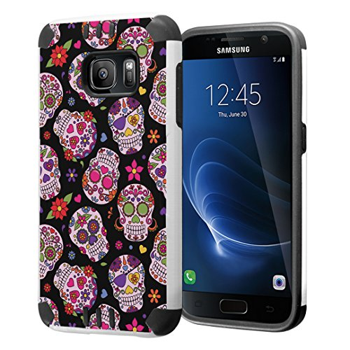 Galaxy S7 Case, Capsule-Case Hybrid Dual Layer Silm Defender Armor Combat Case Brush Texture Finishing for Samsung Galaxy S7 SM-G930 - (Sugar Skulls Sweet)