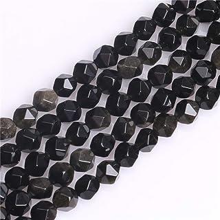 Faceted PentagonHexagon Shape BlackYellow Mix Semi-Precious Gemstone Bead Strand 16 Inches Long