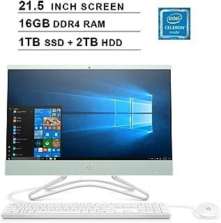2019 HP Pavilion All-in-One 21.5 Inch FHD 1080P Desktop (Intel Celeron G4900T 2.9GHz, 16GB DDR4 RAM, 1TB SSD (Boot) + 2TB HDD, Intel UHD Graphics 610, WiFi, Bluetooth, HDMI, Windows 10) (Mint)