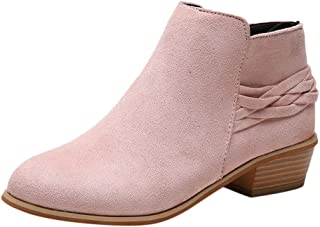 Women Suede Ankle Boots Winter Square Heel Knitted Zipper Round Toe Flock Solid Bootie Shoes