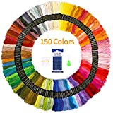 SOLEDI Embroidery Floss 150 Skeins Rainbow Colors Embroidery Thread Cross Stitch Threads for Friendship Bracelets String Comes with 23 pcs Embroidery Tools,Needles,Art Crafts