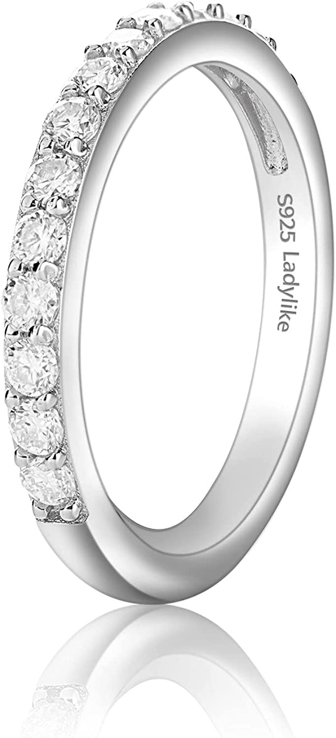 Ladylike Moissanite Wedding Band 18K White 925 Plated 2021 model Max 85% OFF Gold Sterl