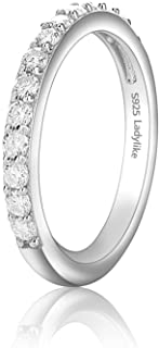 Ladylike Moissanite Wedding Band 18K White Gold Plated 925 Sterling Silver Wedding Rings 0.42ct D Color VVS1 Lab Created D...