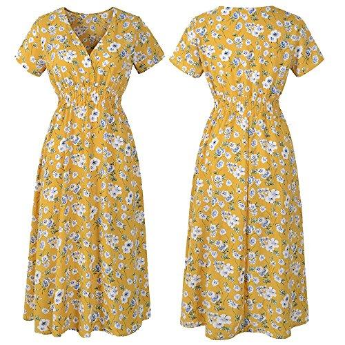 Damen Sommer Gelb Kurzarm V-Ausschnitt Sexy Kleid Blumendruck Casual Dress Skinny Mini Dress (2XL)