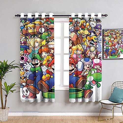 Games And Anime Super Mario Odyssey Super Mario - Cortina impermeable para ventana para habitación de niñas (55 x 63 pulgadas)