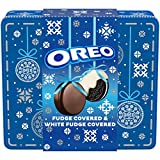 Oreo [Fudge &] White Fudge Covered Chocolate Sandwich Cookies Holiday Gift Tin, Original Flavor Crème (24 Count (Pack of 1) Cookies Total)
