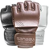 Sanabul New Item Battle Forged MMA Grappling Gloves 4 oz (Brown, Medium)