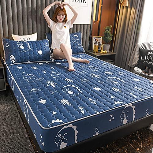 YFGY Sábana Bajera Ajustable para Cama Single, Protector de colchón Acolchado Cepillado Engrosado, sábanas Ajustables con Todo Incluido Almohada Azul Marino 120 * 200 cm (3 Piezas)