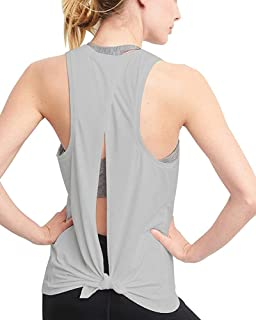 Mippo Women's Sexy Open Back Yoga Shirts Tie Back Workout Clothes Racerback Tank Tops