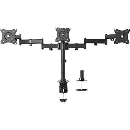 VIVO Triple Monitor Adjustable Mount, Articulating Stand for 3 LCD Screens up to 24 inches STAND-V003M