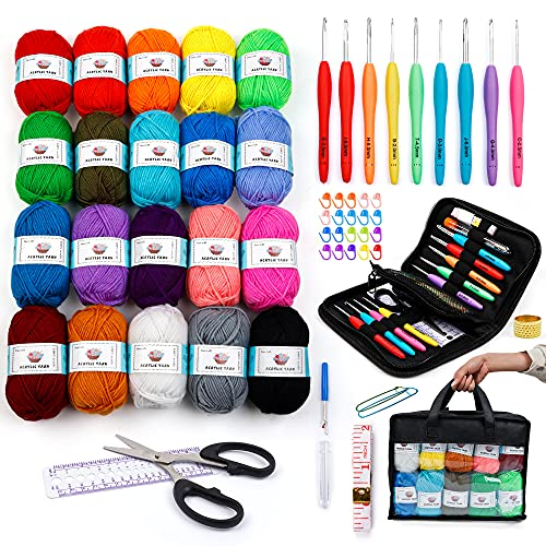20x51g Large Acrylic Yarn Skeins, 2080 Yards Assorted Yarn for Knitting and Crochet, 73PCS Crochet Accessories Set Including Ergonomic Hooks, Knitting Needles & More, Ideal Beginner Kit