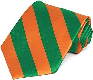 TieMart Kelly Green and Orange Striped Tie