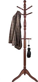 Vlush Free Standing Coat Rack, Wooden Coat Hat Tree Coat Hanger Holder Coat Hook Entryway Hall Tree with Solid Rubber Wood...