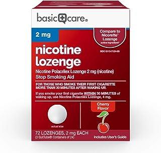 Amazon Basic Care Nicotine Polacrilex Lozenge, 2 mg (nicotine), Stop Smoking Aid, Cherry Flavor, 72 Count