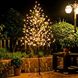 Leruckdite LED Cherry Blossom Tree Light 6ft 208L Warm White Artificial Flower Decoration for Bedroom Indoor Outdoor Home Festival Party Wedding Christmas