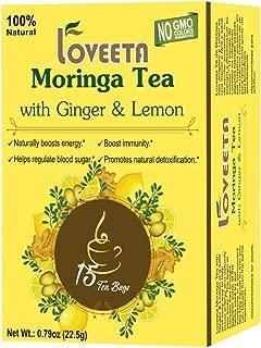 Loveeta Wellness Moringa Tea Ginger & Lemon - 15 Tea Bags (GMO Free, Gluten Free, Dairy Free, Sugar Free and 100% Natural)