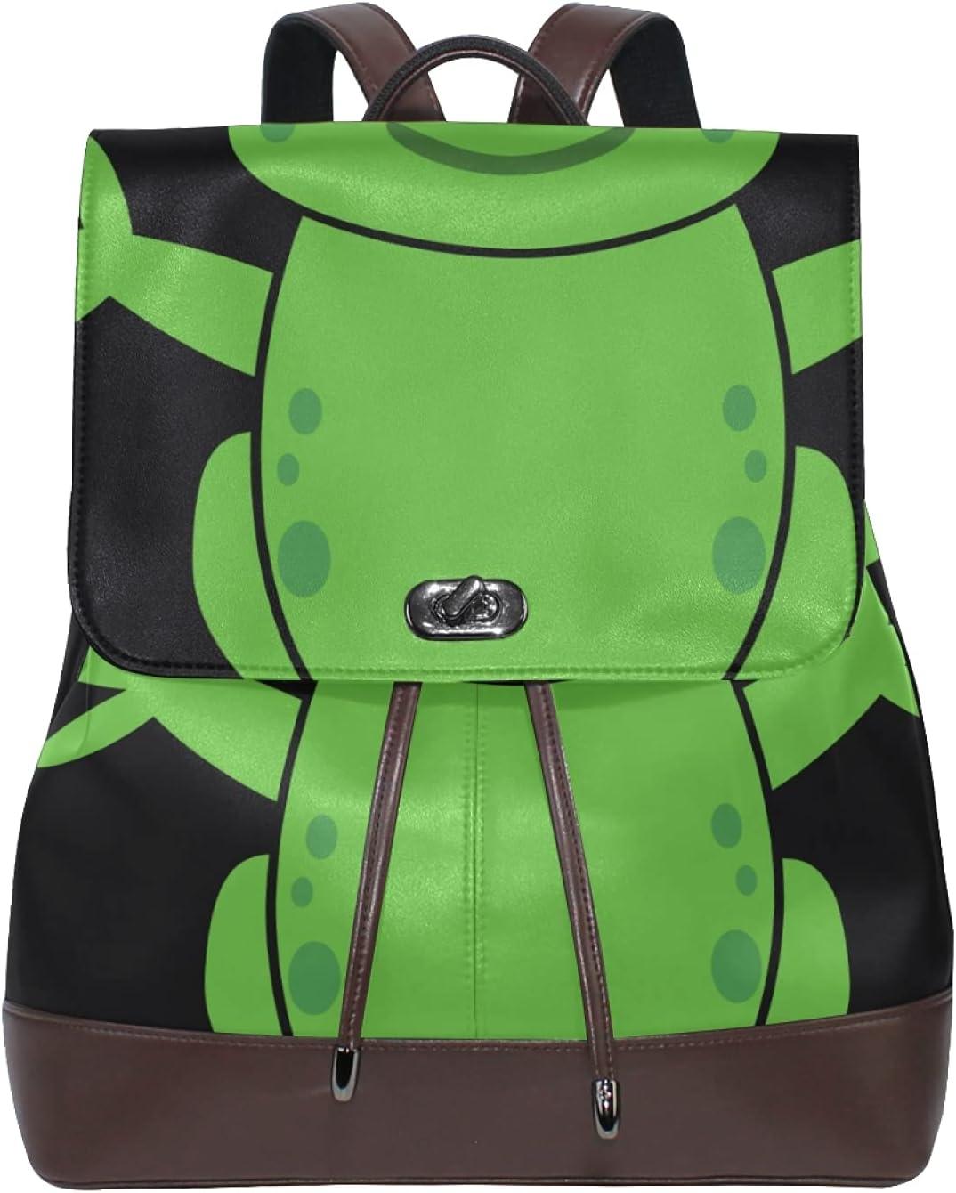 Women Leather Backpack Ladies Fashion Shoulder Bag Large Travel Bag Happy Frog