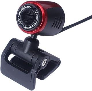 YUIO USB2.0 HD Cámara web Cámara web Cámara con micrófono para computadora PC Portátil Cámara de video digital HD Cámara práctica (negro + rojo)