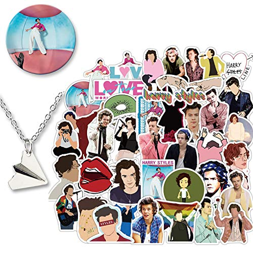 Kilmila Harry Edward Styles Stickers 50Pcs (with Harry Styles Button Pin and Paper Airplane Necklace ).Popular English Singer Decals for Laptop Snowboard Bicycle