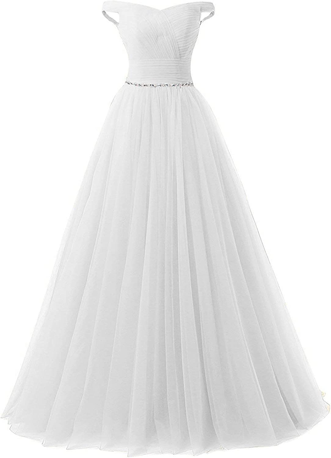 BellaBridal Women's Long Tulle Crystal Formal Prom Dress Off Shoulder Quinceanera Dress Party Ball Gown 020