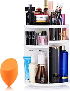 Mokaro 360 Degree Rotating Makeup Organizer for Christmas Gifts Extra Large Capacity Adjustable Multifunctional Cosmetic Storage Box for Skin Care Products Makeup Sponges (White)
