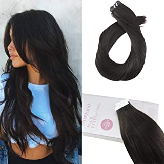 Moresoo 18 Inch PU Tape in Black Human Hair Extensions 100% Remy Human Hair Color Off Black #1B Seamless Skin Weft Tape in Hair Extensions Straight 20PCS 50G Per Pack