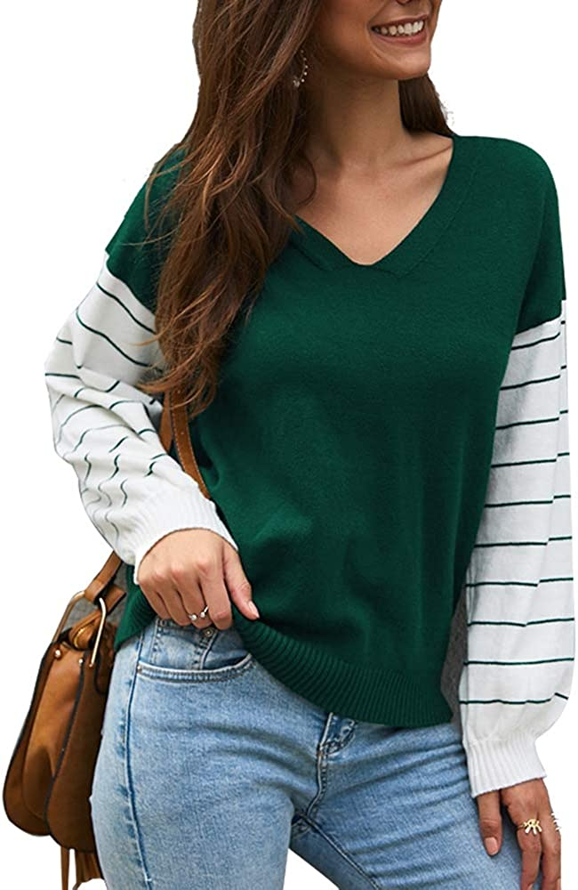 Albuquerque Mall Women's Casual Knit Sweater Long sale Block Sleeve Patchwork Striped