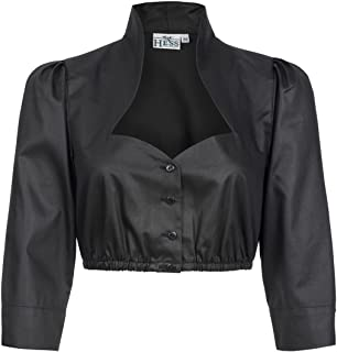 HESS FRACKMANN Hess Damen Trachten-Mode Dirndlbluse Nené mit Stehkragen in Schwarz traditionell
