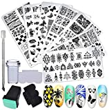 10pcs Manicure Nail Tools Kit Set 7pcs Nail Stamping Plates + 2pcs Stamper Scraper + 1pc Cuticle Pushers Leaves Flowers Animal Butterfly Template Image Plate (LIFE9015A)