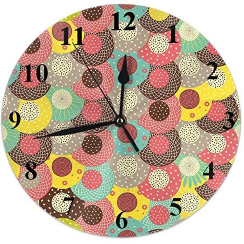 Reloj de Pared Reloj de pared de lunares Círculos de colores Flores florales Doodle Reloj redondo silencioso Sin tictac Decoración de la casa 10 pulgadas for la sala de estar de la sala de estar Ofici
