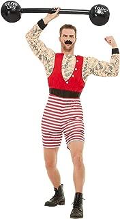 Smiffys 50807M Deluxe Strongman Costume, Men, Red & White, M - Size 38