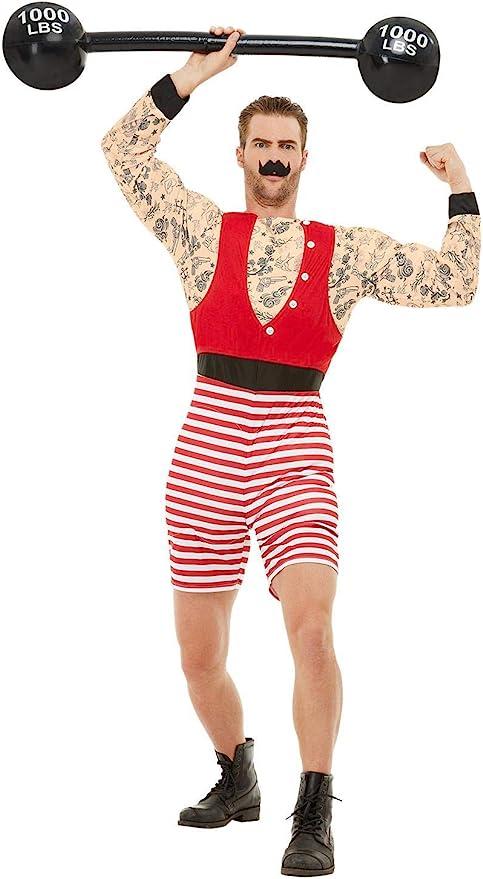 1920s Men's Costumes: Gatsby, Gangster, Peaky Blinders, Mobster, Mafia Smiffys 50807L Deluxe Strongman Costume Men Red & White  AT vintagedancer.com