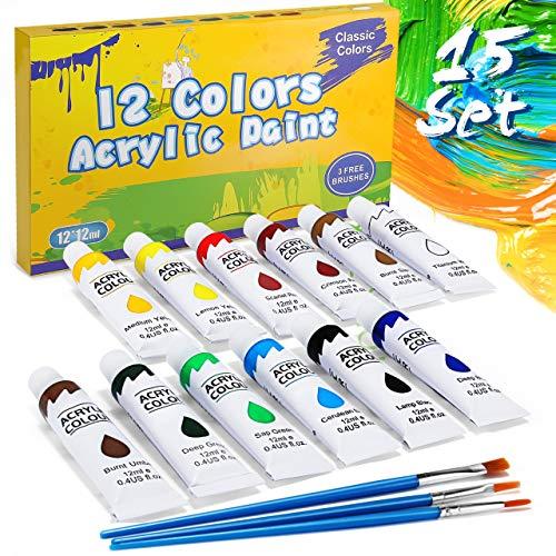 Gifort Acrylfarbe Set Bunt, 12 Verschiedene Kreativ-Mal-Farben in Tube, hoher Anteil an Farb-Pigmenten, Acrylic Paint hoch-deckend & schnell-trocknend, ideal zum Malen & Zeichnen, 12 ml/Tube
