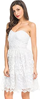 Women White Floral Print Gauze Panel Multi Layer Sleeveless Dress