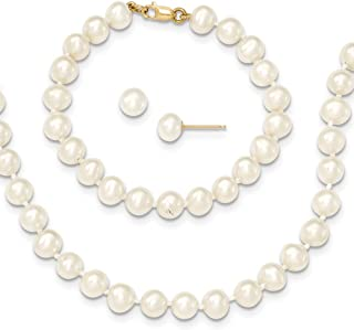 14ct Yellow Gold 5-6mm Freshwater Cultured Pearl White 5inch Bracelet 14in Necklace Earrings Set