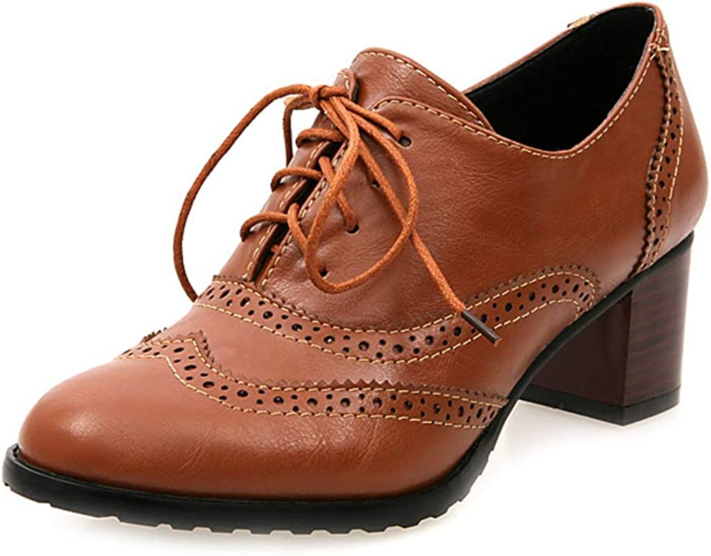 MIOKE Women's Fort Worth Mall Chunky Block Mid Wingtip High quality new Oxford Pumps Perfora Heel