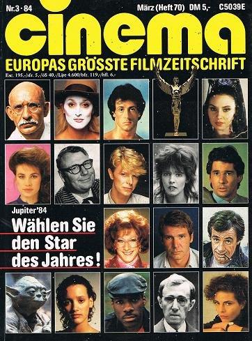 Cinema 1984 Nr. 3 (Heft 70) , (Wählen sie den Star des Jahres Cover) Zeitschrift