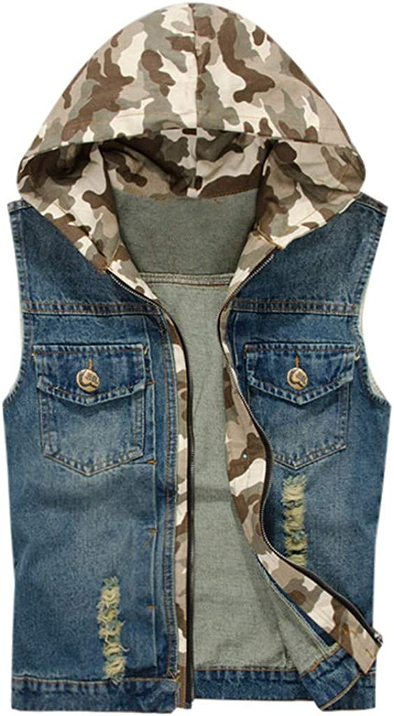 MODOQO Men's Zipper Denim Jacket Vest with Hood Casual Sleeveless Slim Fit Lightweight Outwear Coat