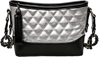 Women's Quilted PU Leather Cross-body Bag Purse Handbags With Chain Strap Small