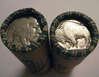 1913-1938 Full Roll 40 Coins - ALL DATELESS Buffalo Circulated