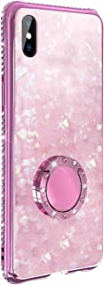 Alsoar Compatible with Honor 8X/Honor View 10 Lite Glitter Bling Case,Marble Sparkly Diamond Rhinestone with 360° Rotation Ring Grip Holder Kickstand Soft Bumper [Tempered Glass] Back Cover (Pink)