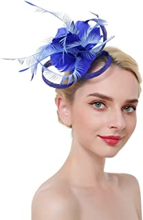Kentucky Derby Sinamy Feather hat Headband Fascinator with Clip for Women