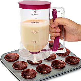 Cupcake Batter Dispenser, Bakeware Maker with Measuring Label, Easy to Control, Great for Cupcakes Muffins Creeps Cakes Be...